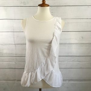 Design History Wrap Top Ruffled White Blouse Sz 8